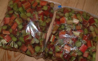 Two. Two bags of chopped Rhubarb.